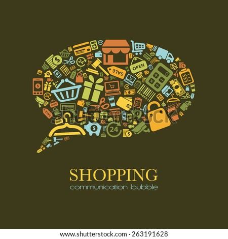 shopping communication bubble - stock vector
