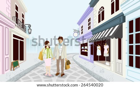 Shopping couple in Old fashioned town - stock vector
