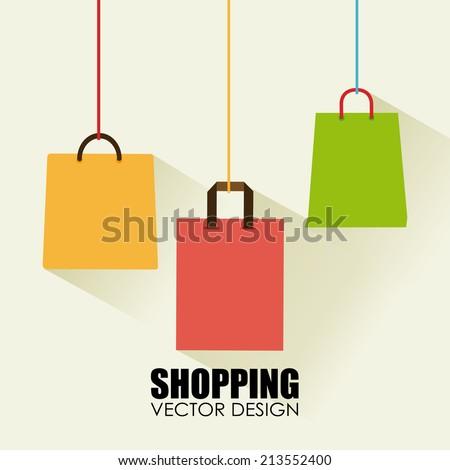 Shopping design over beige background,vector illustration - stock vector