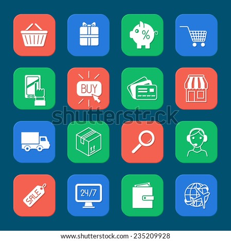 Shopping e-commerce online payment and delivery services icons set isolated vector illustration - stock vector