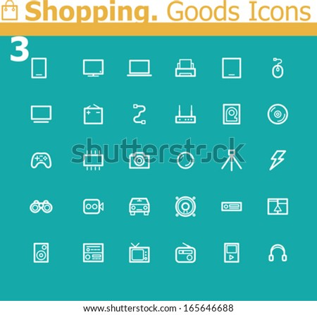 Shopping. Electronics icon set - stock vector