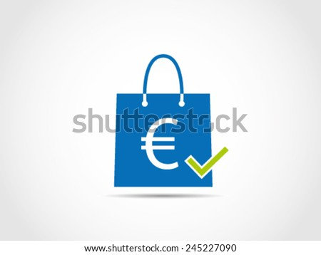 Shopping Euro Checked - stock vector