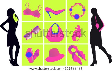 Shopping fashion accessories for women - stock vector