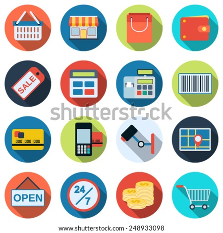 Shopping flat vector icons. Web design elements collection. - stock vector