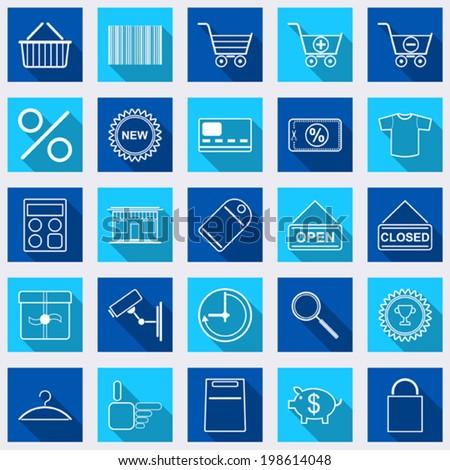 Shopping flat web vector icons - stock vector