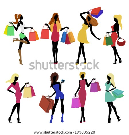 Shopping girl female figure silhouettes with sale bags isolated vector illustration. - stock vector
