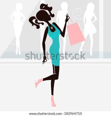 Shopping girl silhouettes / Young girl - stock vector