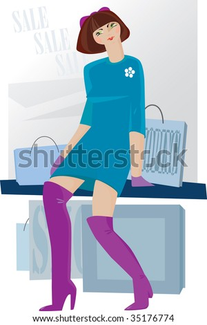 Shopping  girl vector illustration