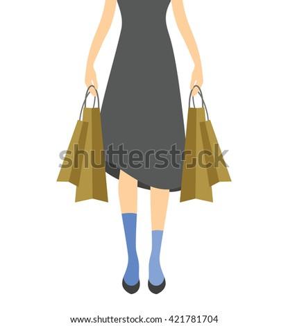 Shopping girl vector illustration - stock vector