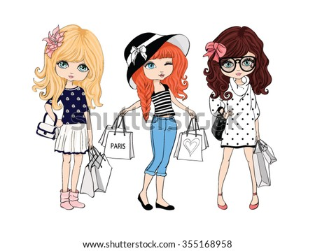 shopping girl vector,T-shirt print,Book illustrations for children,cartoon characters,For apparel or other uses in vector.Children illustration for School books and more
