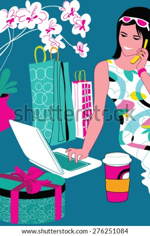Shopping girl with bags talking on the phone - stock vector