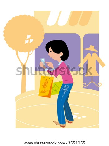 Shopping girl with mobile phone.