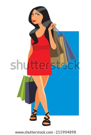 Shopping girl with sale fashion bags - stock vector