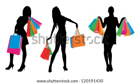 Shopping girls - stock vector