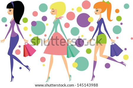 Shopping girls cartoon - stock vector