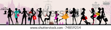Shopping girls, Paris.  All elements and textures are individual objects. Vector illustration scale to any size. - stock vector