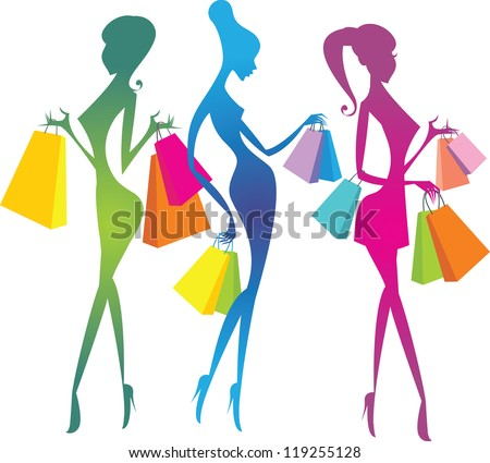 Shopping girls silhouettes - stock vector