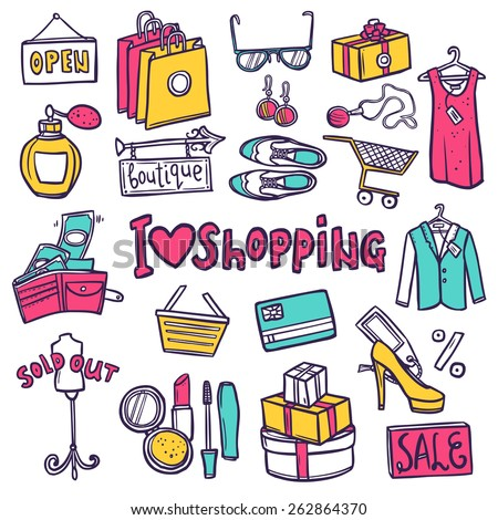 Shopping hand drawn decorative icons set with commerce symbols isolated vector illustration - stock vector
