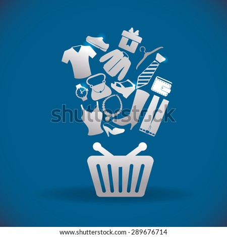 Shopping icon design over blue background, vector illustration