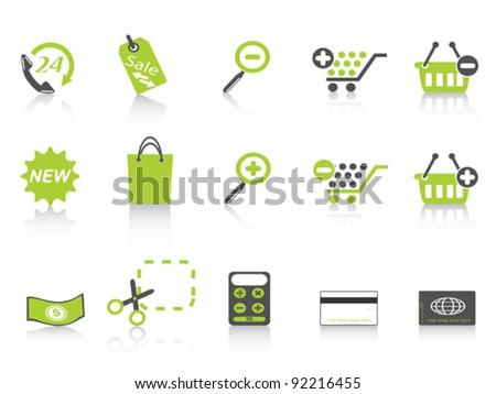 shopping icon green series - stock vector