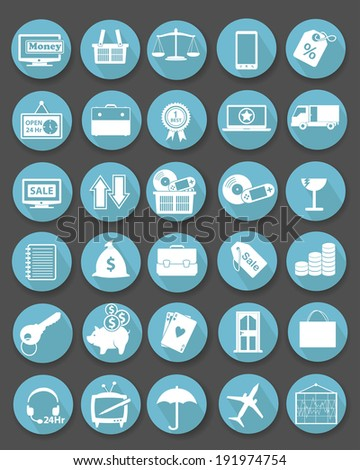 Shopping icon set,Flat icons,Blue version,vector - stock vector