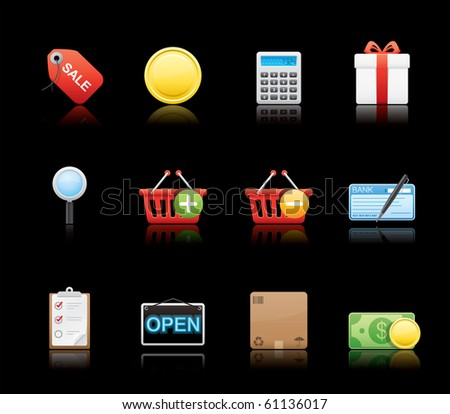 Shopping icon set 22 - Glossy Black Series.  Vector EPS 8 format, easy to edit. - stock vector