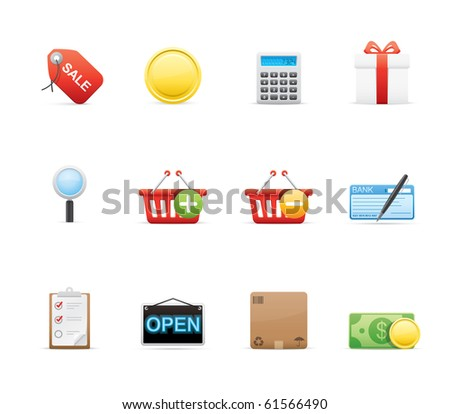 Shopping icon set 22 - Glossy Series.  Vector EPS 8 format, easy to edit. - stock vector