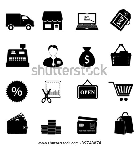 Shopping icon set in black - stock vector