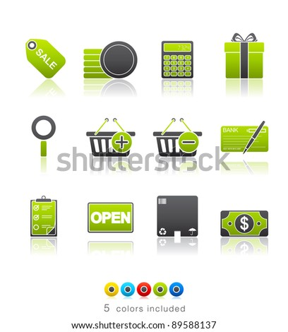 Shopping icon set 22 - Multi Color Series.  Icon set in EPS 8 format with high resolution JPEG EPS file contains five color variations in different layers - stock vector