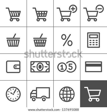 Shopping Icon Set. Simplines series. Vector illustration - stock vector