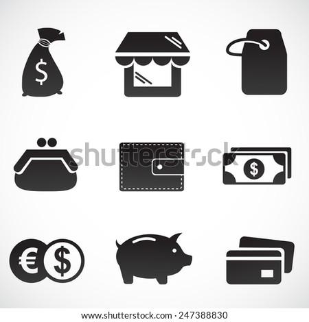 Shopping icon set. Vector art. - stock vector