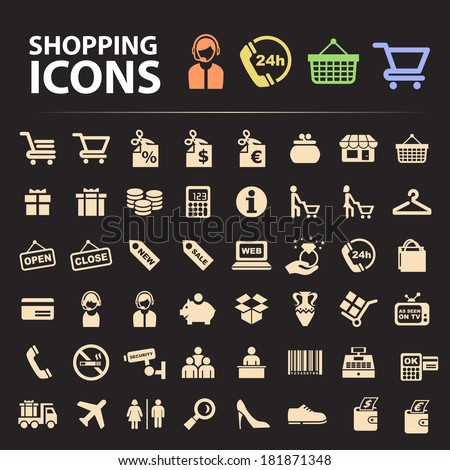 Shopping Icons. - stock vector