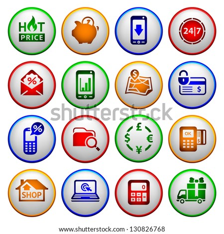 Shopping Icons. Colored round buttons, vector illustration - stock vector