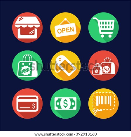 Shopping Icons Flat Design Circle