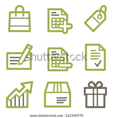 Shopping icons, green line contour series - stock vector