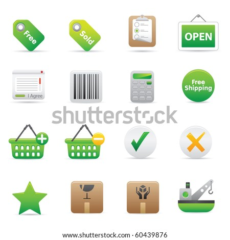 Shopping Icons | Green14 Professional icons for your website, application, or presentation - stock vector