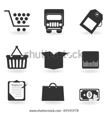 Shopping icons in grayscale silhouette - stock vector