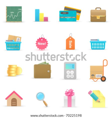 shopping  icons on a white background - stock vector