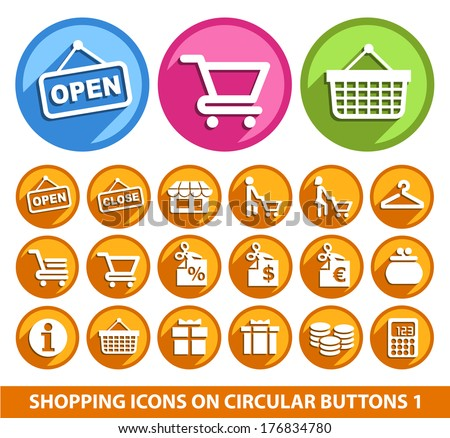Shopping Icons on Circular Buttons 1.