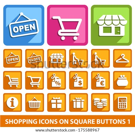 Shopping Icons on Square Buttons 1.
