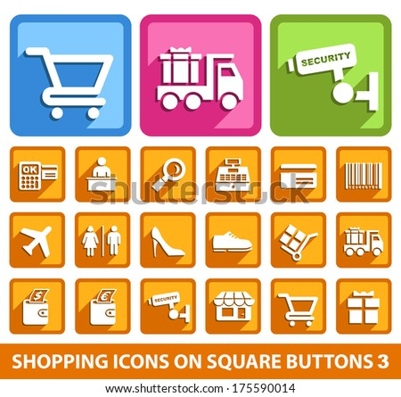 Shopping Icons on Square Buttons 3. - stock vector
