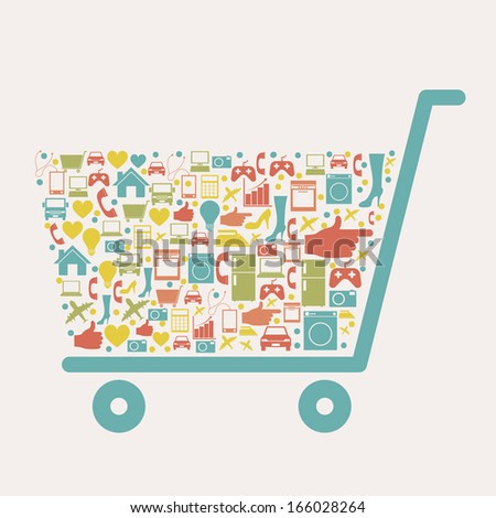 shopping  icons over  white background. vector illustration - stock vector