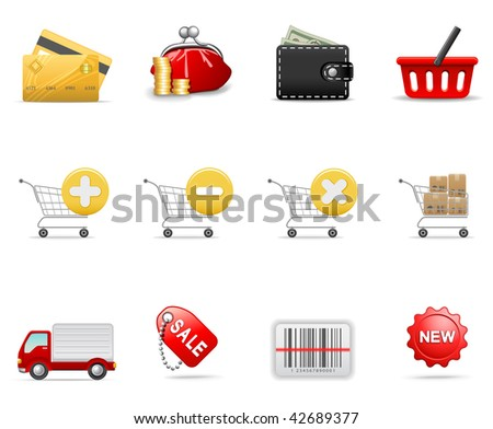 Shopping icons, part 2 - stock vector