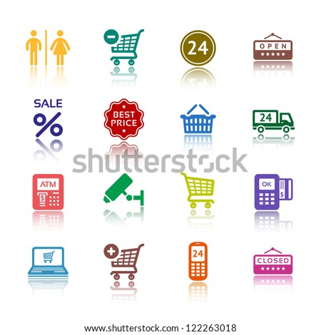 Shopping icons, services supermarket. Set 1 (one), vector illustration, symbols colored with reflection. - stock vector