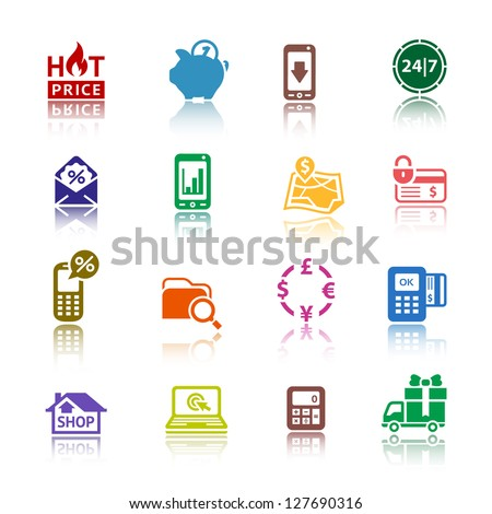 Shopping icons, services supermarket. Set 2 (two), vector illustration, symbols colored with reflection.