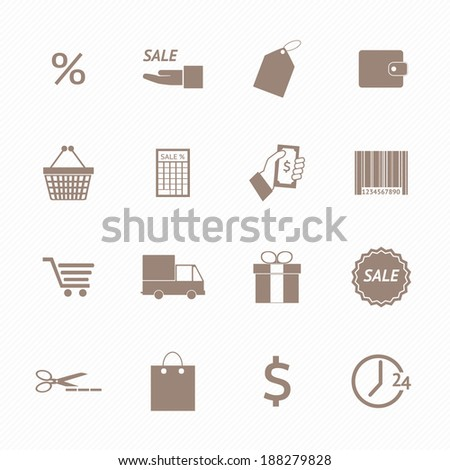 Shopping icons set - stock vector