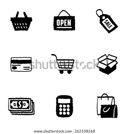 Shopping Icons Set and Signs - freehand drawing vector illustration - stock vector