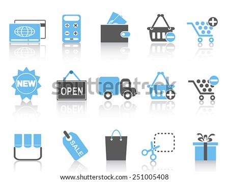 shopping icons set ,blue series - stock vector