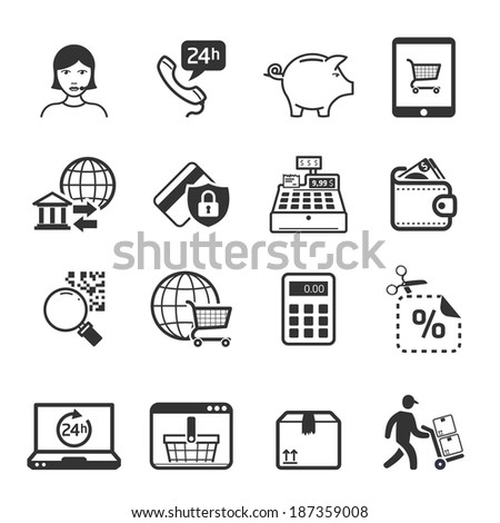 Shopping icons set 04 // BW - stock vector