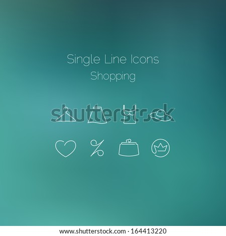 Shopping icons set drawn with single line. Elegant series - stock vector
